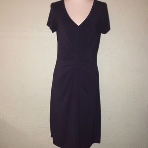 ATHLETA Sz M Navy Blue Short Sleeve Ruched Dress